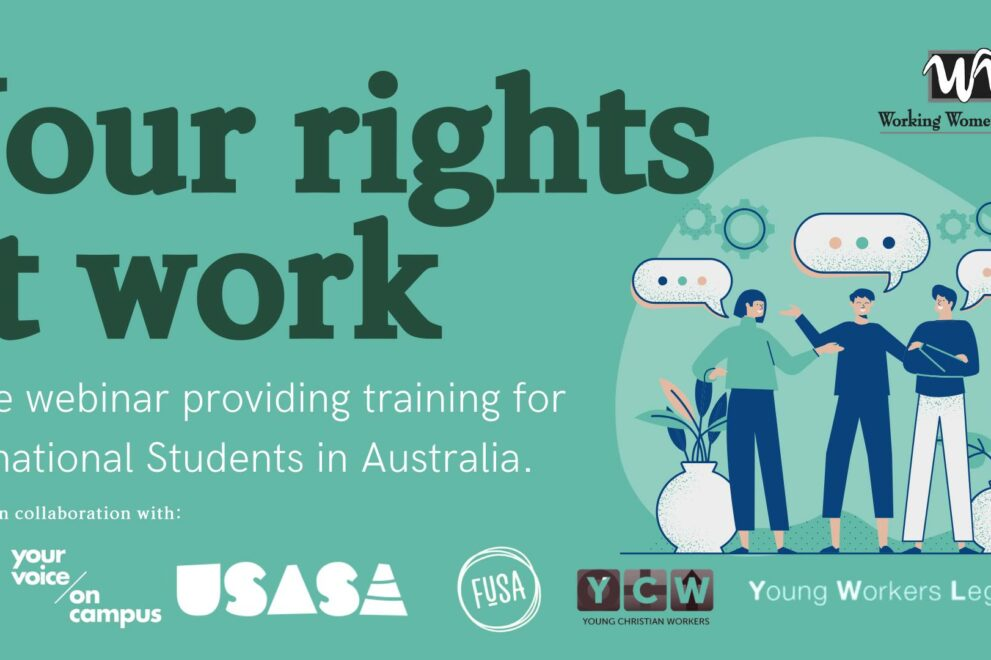 Your Rights at Work – Free webinar training for International Students in Australia