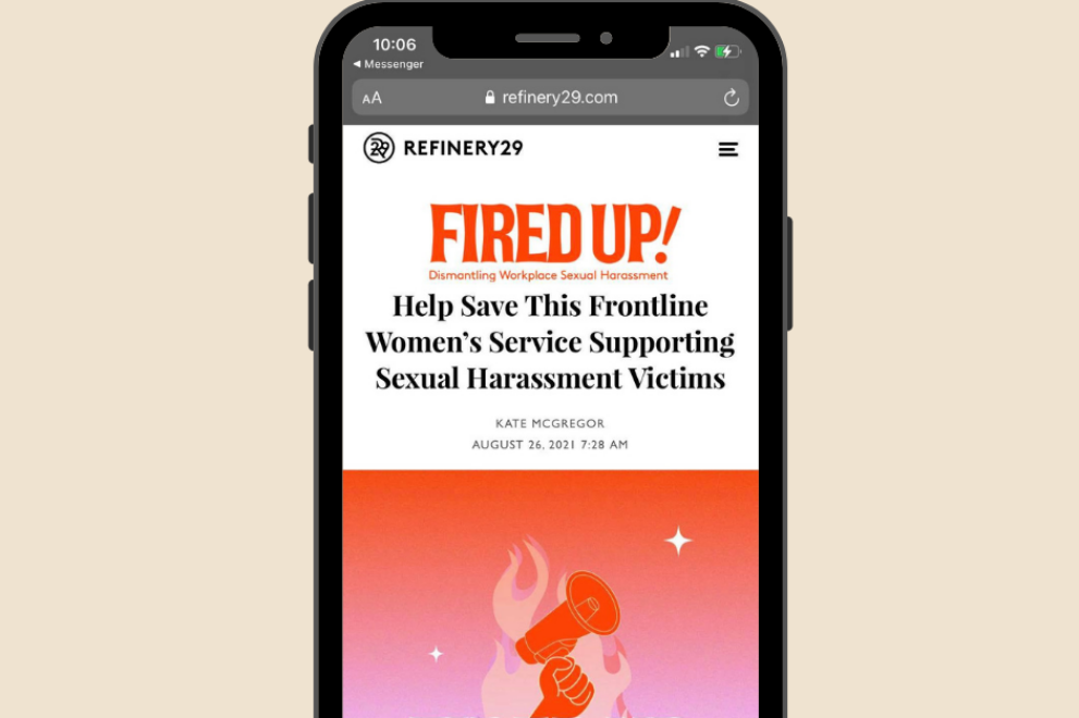 refinery 29 Help Save This Frontline Women's Service Supporting Sexual Harassment Victims FIRED UP dismantling workplace sexual harassment working womens centre sa