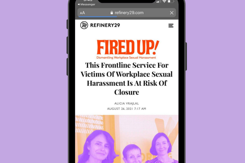 Refinery 29 Australia FIRED UP dismantling workplace sexual harassment This Frontline Service For Victims Of Workplace Sexual Harassment Is At Risk Of Closure